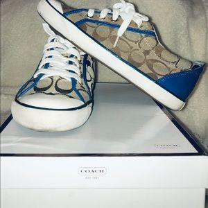Khaki/Blue Coach Sneakers